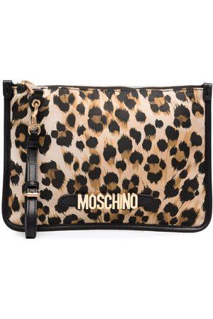 Moschino Women Clutches - Logo lettering leopard-print clutch bag - Neutrals