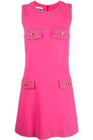 Moschino Teddy Bear-buttons sleeveless dress