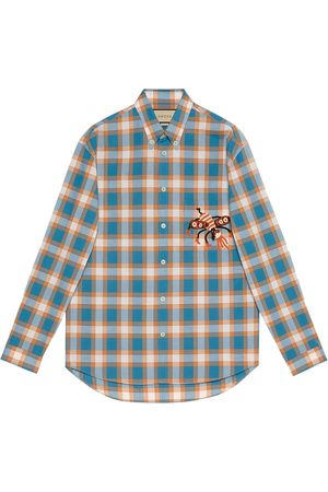 Gucci X Freyja Hartas animal embroidery check shirt