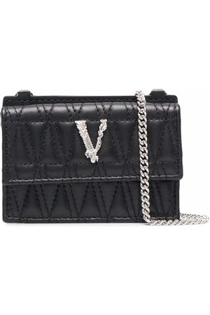VERSACE Virtus quilted chain cardholder