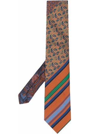 Etro Men Bow Ties - Striped-paisley cotton-silk tie