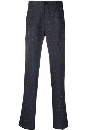 Etro Men Formal Pants - Floral-print stripe trousers