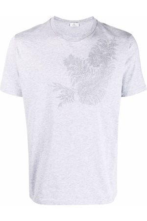 Etro Men T-shirts - Leaf-embroidered T-shirt - Grey