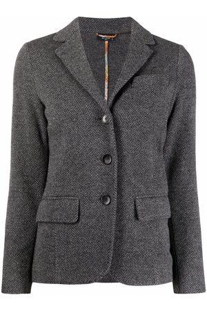 Etro Women Blazers - Herrigbone-pattern single-breasted blazer - Grey