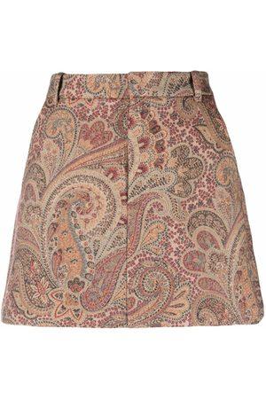 Etro Women Printed Skirts - Paisley-print mini skirt - Neutrals