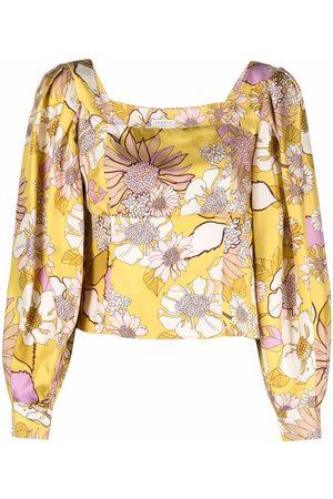 Sandro Square-neck floral-print top