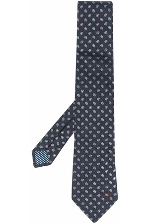 Etro Men Bow Ties - Embroidered-floral silk tie