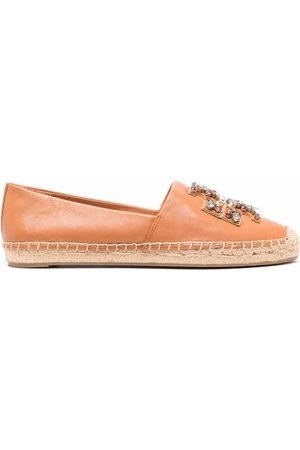 Tory Burch Crystal-embellished logo loafers