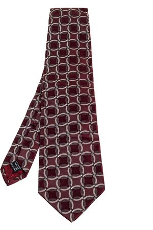 Gucci Burgundy Circle Patterned Jacquard Silk Tie