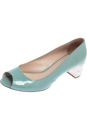 Miu Miu Patent Leather Peep Toe Embellished Block Heel Pumps Size 38.5