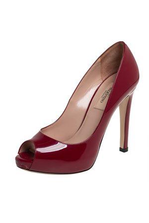 VALENTINO Patent Leather Rockstud Embellished Heel Peep Toe Pumps Size 36