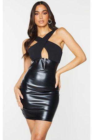 PRETTYLITTLETHING PU Zip Detail Cross Front Bodycon Dress