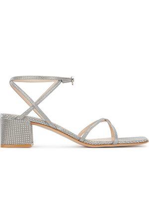 Gianvito Rossi Amaris 50 silver jacquard sandals