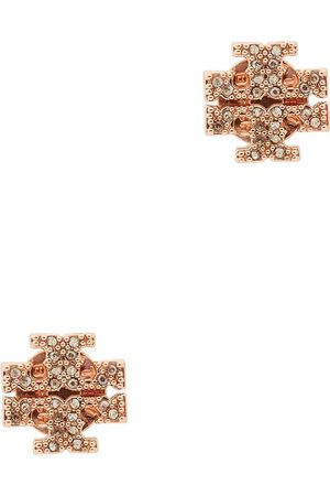Tory Burch Kira logo rose gold-tone stud earrings