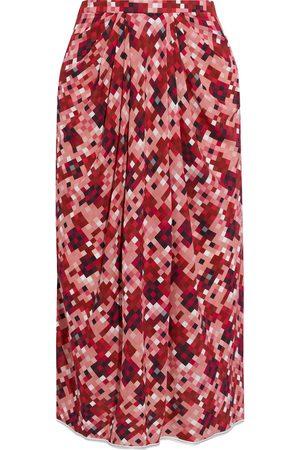 Marni Woman Pleated Printed Crepe Midi Skirt Antique Rose Size 38