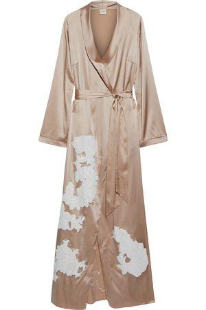 MYLA Woman Primrose Hill Embroidered Stretch-silk Satin Robe Neutral Size M/L