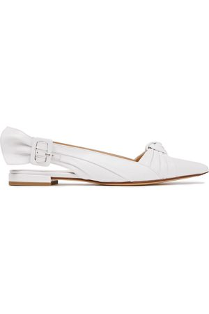 FRANCESCO RUSSO Woman Pleated Knotted Leather Slingback Flats Size 38