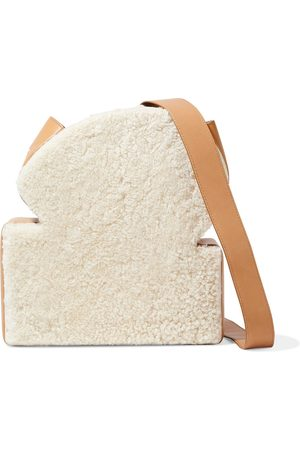 REJINA PYO Woman Toastie Shearling And Leather Shoulder Bag Ivory Size
