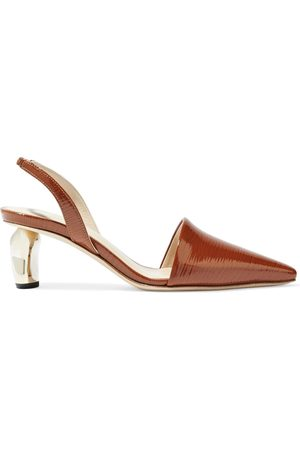 REJINA PYO Women Heeled Pumps - Woman Conie Embossed Patent-leather Slingback Pumps Size 36