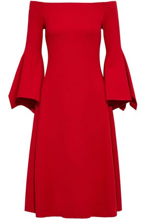 ROSETTA GETTY Woman Off-the-shoulder Fluted Stretch-ponte Midi Dress Size L
