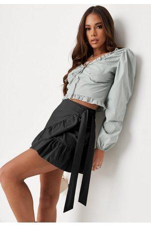 Missguided Side Tie Frill Hem Mini Skirt