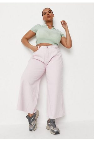 Missguided Plus Size Cropped Raw Hem Wide Leg Jeans