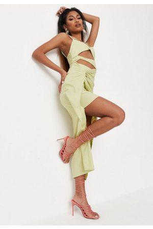 Missguided Women Asymmetrical Dresses - Twist Cut Out Asymmetric Midaxi Dress