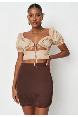 Missguided Women Mini Skirts - Chocolate Satin A Line Mini Slip Skirt