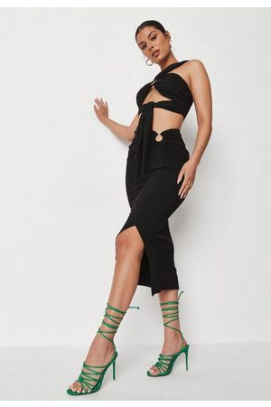 Missguided Ring Detail Crinkle Rib Midi Skirt