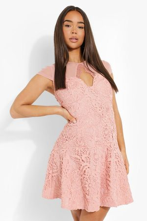 Boohoo Womens Lace Cut Out Skater Dress - - 4