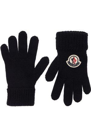 Moncler Logo Wool Blend Knit Gloves