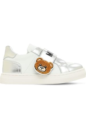 Moschino Girls Sneakers - Teddy Bear Strap Leather Sneakers