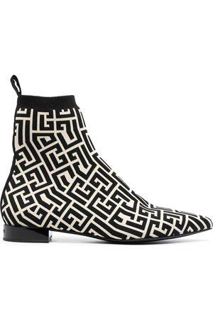 Balmain Women Boots - Jacquard monogram booties - Neutrals
