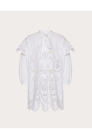 VALENTINO Short Dress In San Gallo Edition Cotton Poplin Women Optic Cotton 100% 40