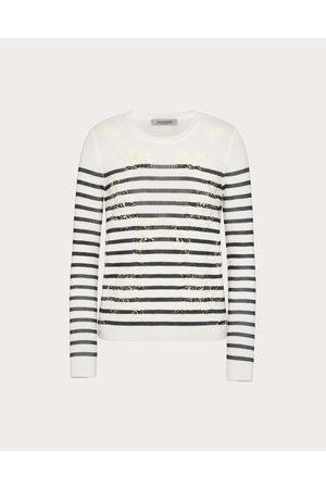 VALENTINO Embroidered Cotton Sweater Women Ivory/ Cotton 100% L