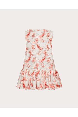 VALENTINO Short Printed Faille Dress Women Ivory/ Silk 20%, Cotton 80% 38