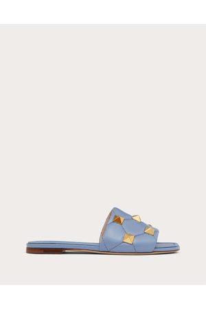 VALENTINO GARAVANI Women Sandals - Roman Stud Flat Slide Sandal In Quilted Nappa Women Azure 100% Lambskin 35