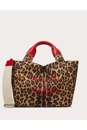 VALENTINO GARAVANI Medium Animalier Atelier Tote Bag In Canvas Women Animal Print Cotton 50%, Linen 50% OneSize