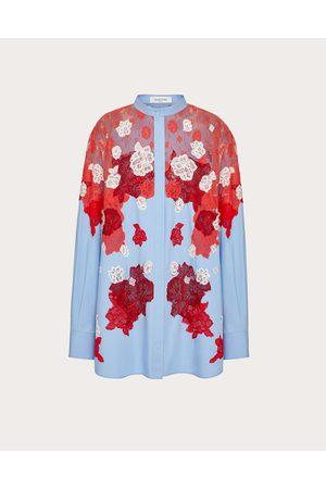 VALENTINO Embroidered Cotton Poplin Shirt Women Multicolored Cotton 100% 38