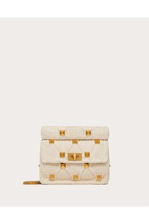 VALENTINO GARAVANI Medium Knitted Roman Stud The Shoulder Bag With Chain Women Ivory Cotton 100% OneSize