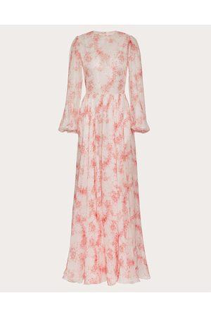 VALENTINO Printed Chiffon Evening Dress Women Ivory/ Silk 100% 38