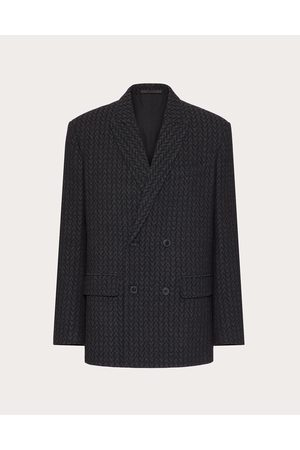 VALENTINO Men Blazers - Double-breasted Wool Jacket With Optical Valentino Motif Man Grey Virgin Wool 100% 44
