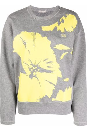 Nina Ricci Two-tone floral-print sweatshirt - Grey