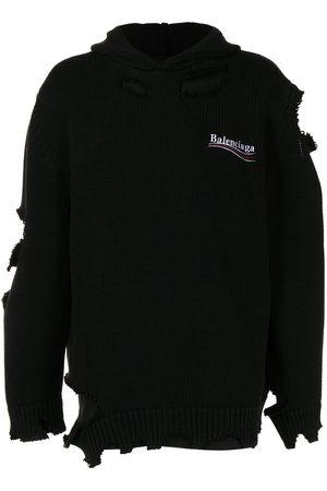 Balenciaga Hoodies - Distressed-effect embroidered-logo hoodie