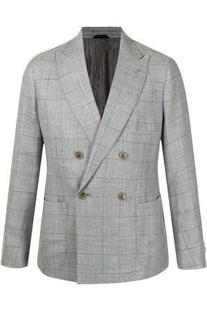 Armani Men Blazers - Check-print double-breasted blazer - Grey