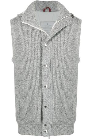 Brunello Cucinelli Knitted padded gilet - Grey