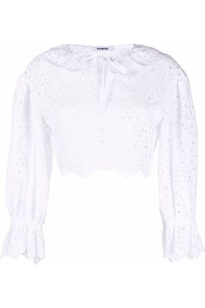 VIVETTA Cropped broderie anglaise top