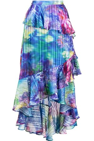 Marchesa Notte Floral-print tiered skirt - Multicolour