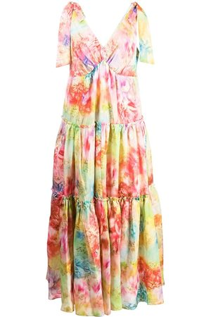 Marchesa Notte Tie strap jacquard maxi dress - Multicolour