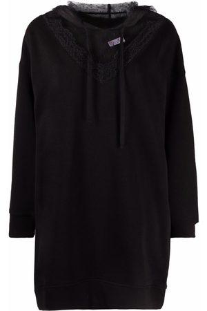 RED Valentino Point d'esprit detail hoodie dress